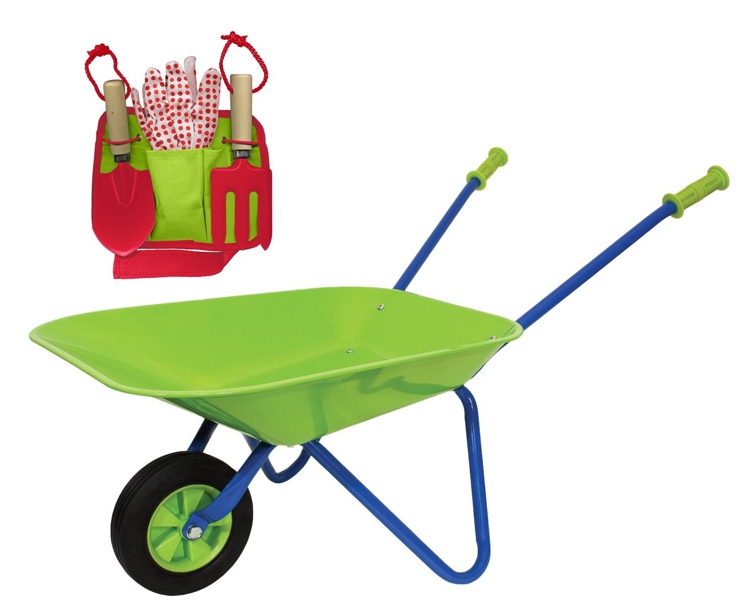Family Games Little Moppet Kids Wheelbarrow & Tool Belt Bundle for Childrens Gardening - Colors May Vary by Family Games