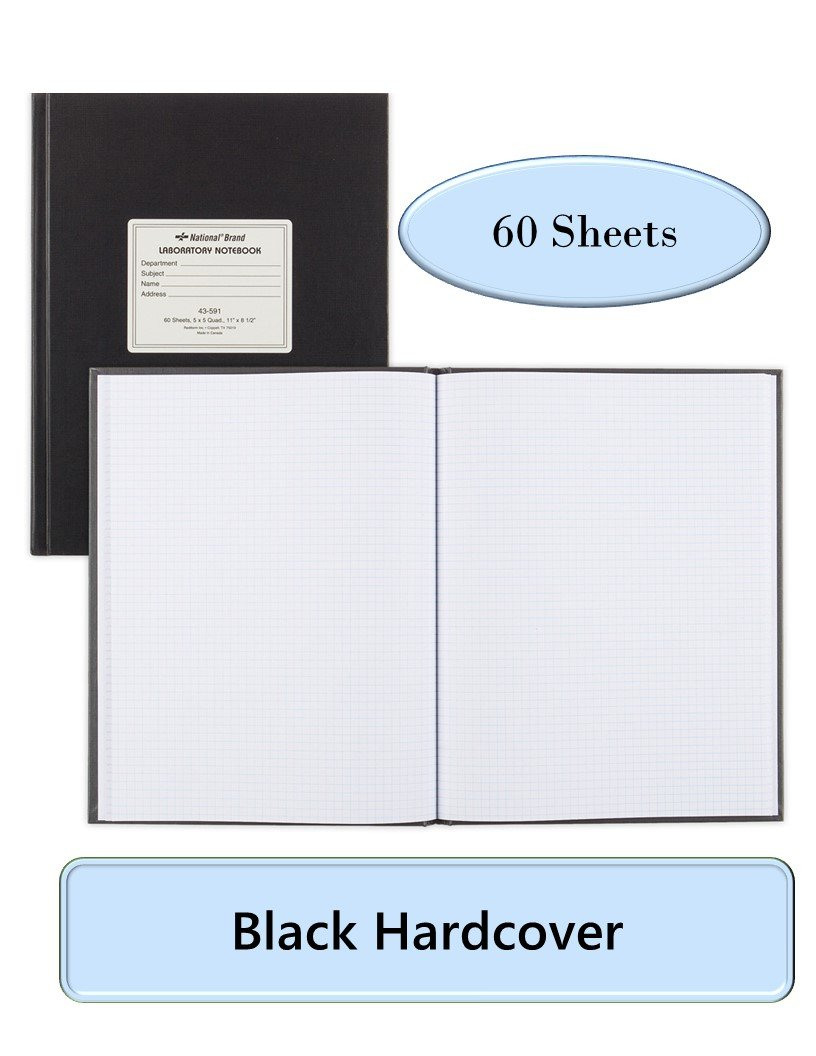 NATIONAL Brand Laboratory Notebook, 5 X 5 Quad, Black, White Paper, 11 x 8.5'', 60 Sheets (43591) by Blueline