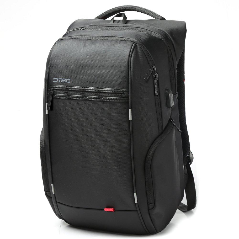 Laptop Backpack with USB Charging Port, DTBG 15 Inch Stylish Water Resistant Laptop Rucksack College Shoulder Back Pack Business Travel Bag Knapsack for Up to 15.6 Inch Laptop Notebook Computer, Black BRINCH