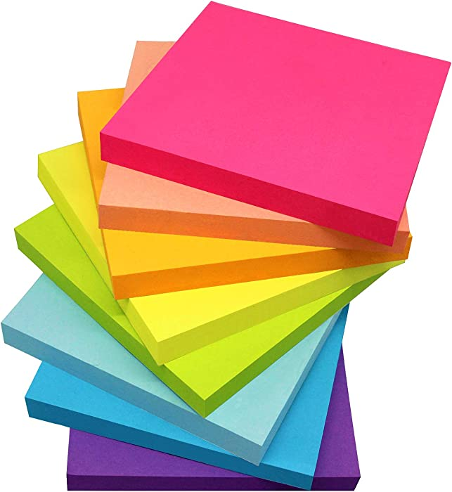 Sticky Notes 3x3 Inches,Bright Colors Self-Stick Pads, Easy to Post for Home, Office, Notebook, 48 Pads/Pack…