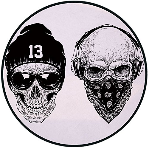 - Printing Round Rug,Skull,Funny Skull Band Dead Street Gangs with Bandanna Hood Rapper Style Grunge Print Decorative Mat Non-Slip Soft Entrance Mat Door Floor Rug Area Rug For Chair Living Room,Black W