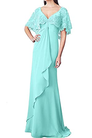 Womens Long Mother Of The Bride Dress Chiffon Lace Flutter Sleeves Grooms Wedding Gown