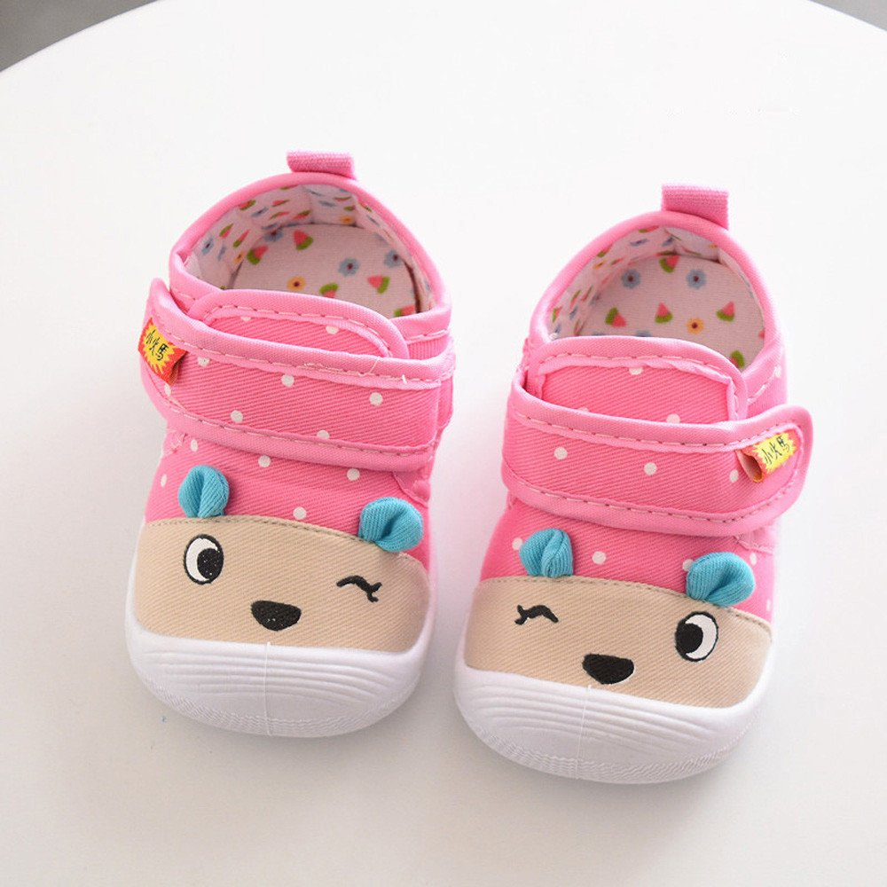 Hauzet Kids Baby Boys Girls Cartoon Animal Anti-Slip Shoes Cotton Fabric Soft Sole Squeaky Sneakers