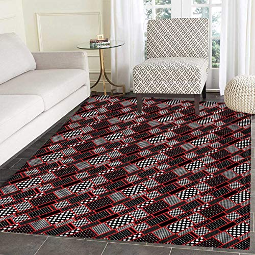 (Red Black Door Mats Area Rug Geometric Rectangle Frames Retro Patterns Polka Dots Houndstooth Floor mat Bath Mat tub 48