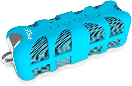 MP3 Android iPod iPhone Bluetooth Compatible Rechargeable Battery Powered Shower Pool Loud Speaker System W// AUX Pyle PWPBTA70BL USB Charger Blue Portable Wireless Waterproof Outdoor Speaker