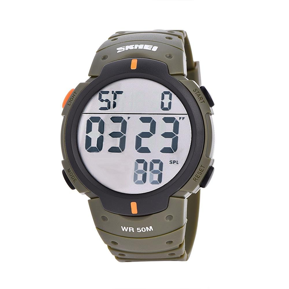 7Colors Male Digital LED Back Light Electronic Wrist Watch Round Sport Wristwatch(Army Green) by Wal front
