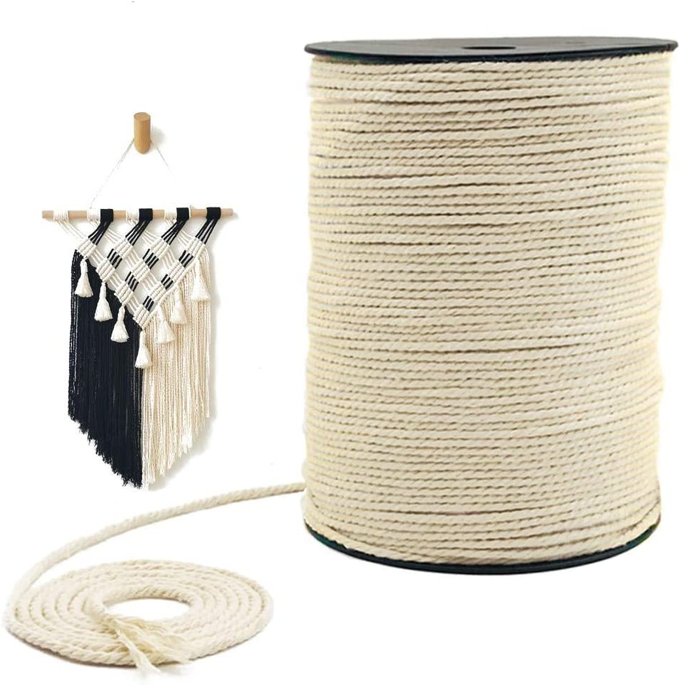 Macrame Cord 3mm x 328 Yards, 100% Natural Unbleached Cotton Macrame Rope - 3 Strands Twisted Macrame Cotton Cord for Wall Hangings, Plant Hangers, Gift Wrapping and Wedding Decorations