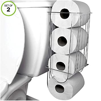 Amazoncom Evelots Toilet Paper Holder Side Of Tank Storage No