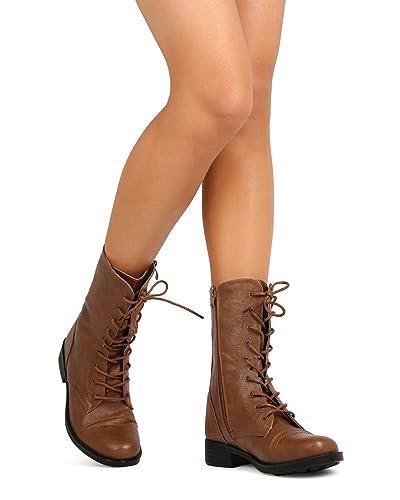 FG33 Women Leatherette Lace Up Combat Boot - Cognac