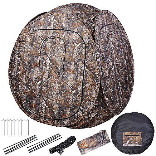 - AW Pro Pop Up Hunting Blind Tent 300D w/Carrying Bag 60x60x68 Camo Hub Polyester Fibre Outdoor Windproof Waterproof