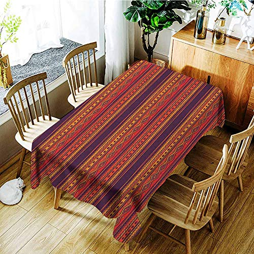 XXANS Small Rectangular Tablecloth,Orange,Abstract Hand Drawn Ethno Pattern Artistic Tribal Ancient Borders Doodle Style,Table Cover for Dining,W60x84L Orange Red Plum
