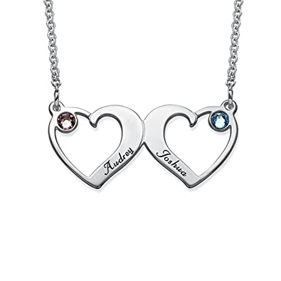 70864cfd4885d Amazon.com: Amandasessom Personalized Heart Pendant - Side By Side ...