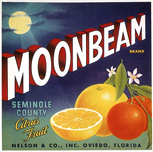 Posterazzi Crate Label Nfor Moonbeam Brand Citrus Fruit from Florida Early 20Th Century. Poster Print by (18 x 24)