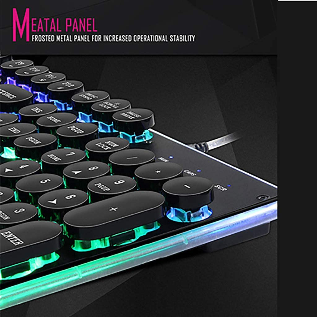 Colorful Backlight,Programmable Gaming Mouse for PC Gamer Computer Desktop Black Barcley Mechanical Keyboard RGB Gaming 104 Keys Switches Wired USB Keyboards with Suspension Frosted Key Cap