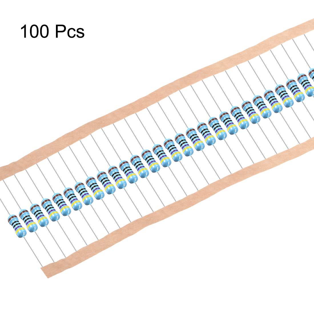 sourcing map 1//2W 47 Ohm Metal Film Resistors 0.5W 1/% Tolerances 5 Color Bands 100 Pcs