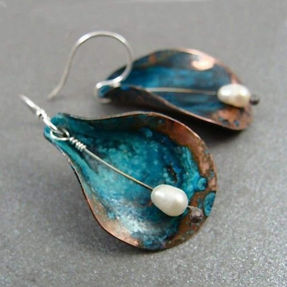 Dds5391 Shining Vintage Women Leaf Faux Pearl Dangle Hook Earrings Party Banquet Wedding Jewelry - Green