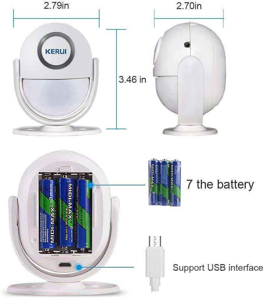 Color Blanco Mini Sensor de Movimiento inal Mbrico Kerui con Control Remoto,Mando a Distancia,para Seguridad en Tiendas o Casas