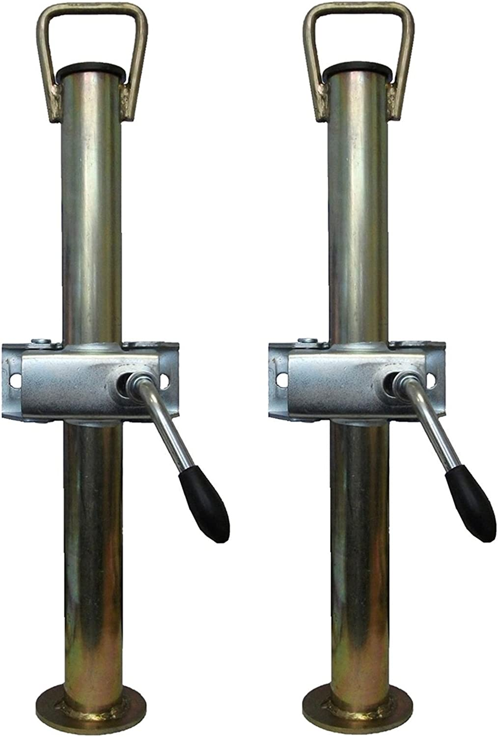 leisure MART A pair of trailer prop stands corner steadys with handle 42mm diameter x 600mm length with split clamps Pt no LMX1522