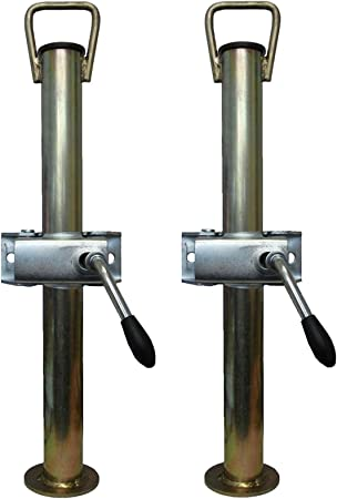 A pair of trailer prop stands corner steadies both 34mm diameter X 610mm length