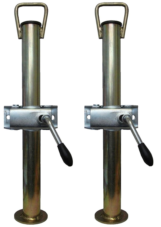 leisure MART Un paio di argento rimorchio Prop supporti angolari Steadys con manico Ø 34mm x 450mm di lunghezza con morsetti split PT no. LMX1512