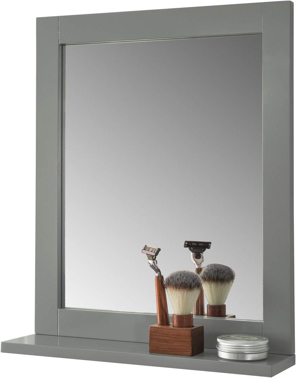 SoBuy/® FRG129-SG Miroir Mural Meuble Salle de Bain avec 1 /étage Plateau