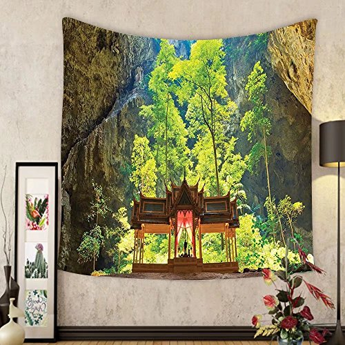 Gzhihine Custom tapestry Natural Cave Decorations Tapestry Latent Pavilion in Between the Cliffs Discovery of Faith in the Nature Art Picture Bedroom Living Room Dorm Decor 60 x 80 Multi by Gzhihine