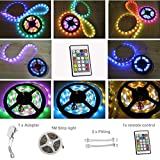 maylit(TM) Waterproof LED Strip Light With IC Dream Colors Individually Addressable and 24key Remote 12V Adapter Mini controller at the end of strip 5050 RGB 5m 150leds IP65 Indoor For Party Lighting Decoration,Chasing Color