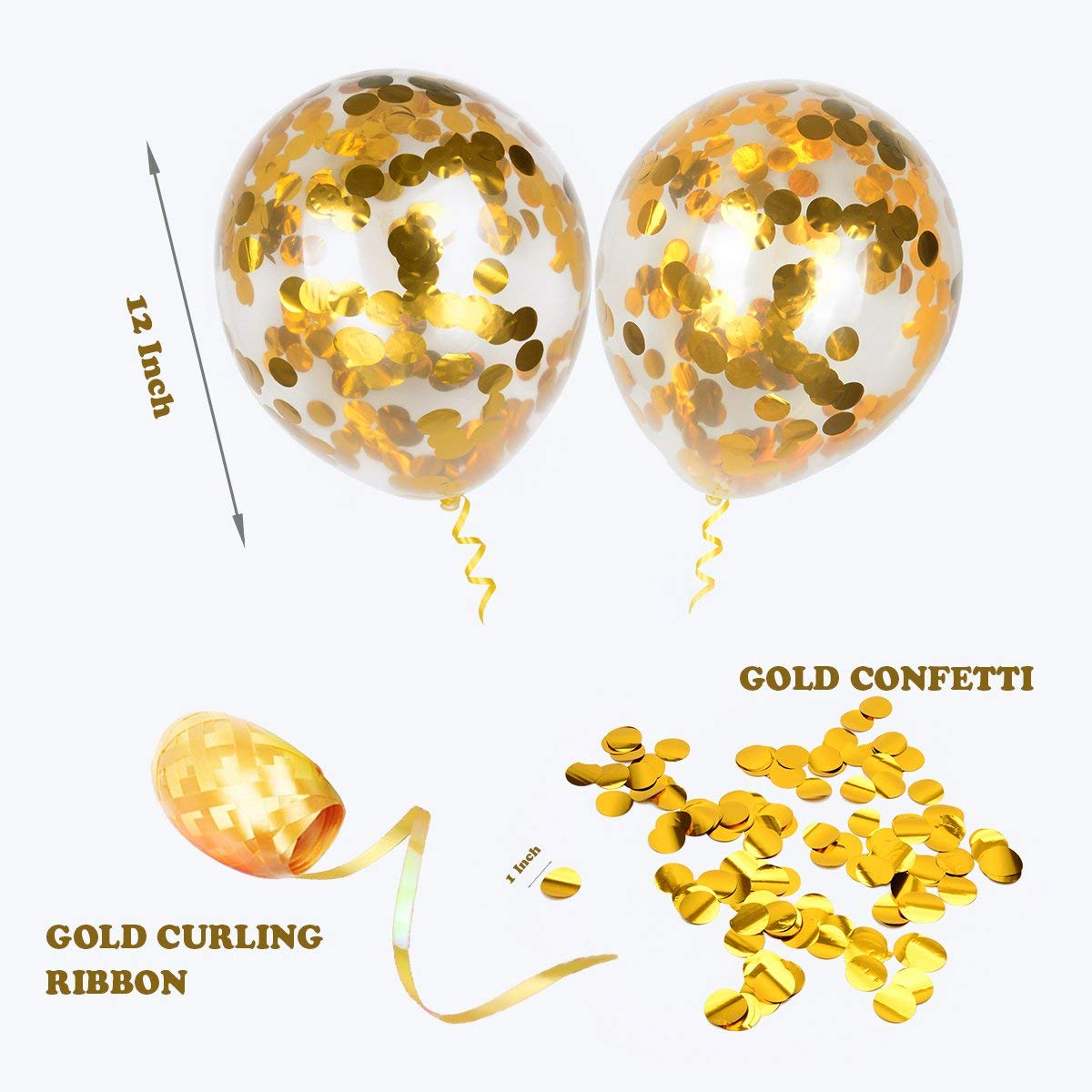 Round 12 Party Balloons Latex Transparent Golden Balloons for Wedding Birthday Party Decorations 20 Pack Proposal HoveBeaty Gold Confetti Balloons