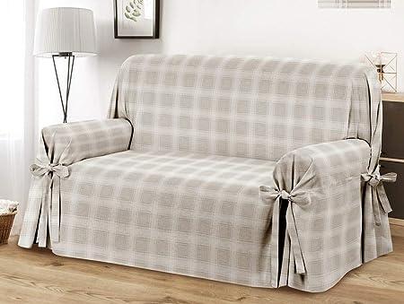 HomeLife – Cubre sillón – Elegante Protector de sofás a Cuadros – Funda de sofá de algodón para Proteger del Polvo, Las Manchas y el Desgaste, Fabricado en Italia – Beige: Amazon.es: Hogar