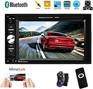 2 Din Car Stereo System - Multimedia Car Stereo-Double Din, 6.2'' Touch Screen Audio Car MP5 Player Bluetooth Car Radio TF/USB/AUX-in/FM/Steering Wheel Controls + Remote Control+Rear View Camera