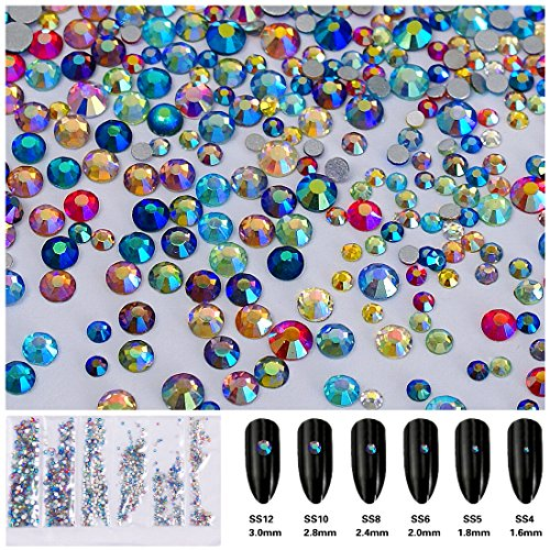 3456pcs Flatback Rhinestones Round Beads Gem Pearls for 3D Nail Art DIY Crafts Clothes Shoes Phone Case Decoration; Mixed Sizes 1.6-3mm; SS4-SS12; 6 Sizes/576pcs per Size Multi-color Iridescent ()