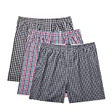 Pau1Hami1ton B-01X Men's Woven Boxer Shorts Cotton Trunks Button Plaid Briefs Checkered Underwear(Pack of 3)(A7#,XL)