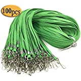Green lanyards100PCS Green Lanyard Clip Swivel Hook Bulk 17.5-Inch Badge lanyards with Clip Lanyards by Bulk Office Neck Flat Cotton Lanyard with Badge Clip for id Badges Key Chains
