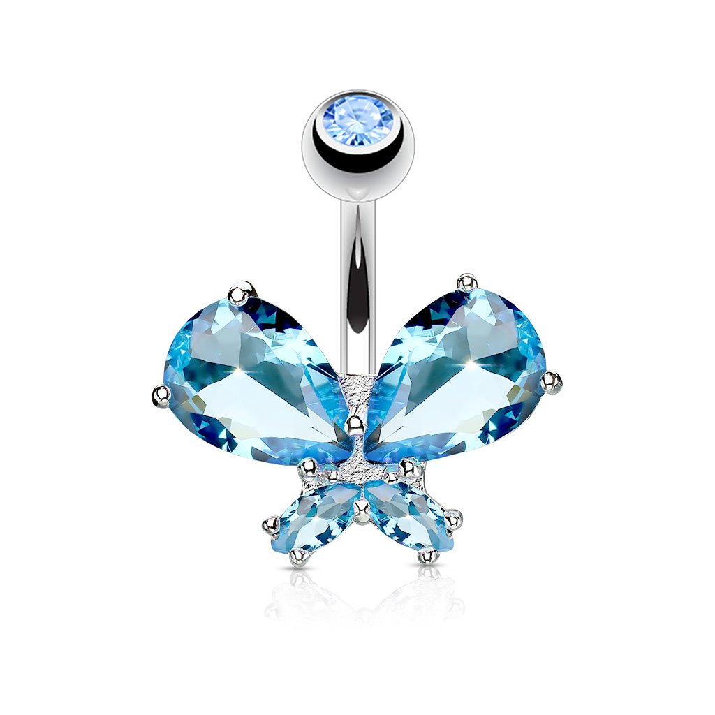 Sold Individually Gem Paved Butterfly Double CZ Dangle 316L Surgical Steel Freedom Fashion Navel Ring