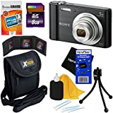 Sony Cyber-shot DSC-W800 20.1 MP Digital Camera with 5x Optical Zoom and Full HD 720p Video (Black) - International Version + 7pc Bundle 8GB Accessory Kit w/HeroFiber Ultra Gentle Cleaning Cloth