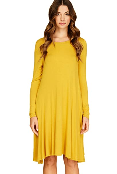 bbce91a498c Annabelle Women s Round Neck Solid Side Pockets Swing Midi Dress Mustard  Small D5239