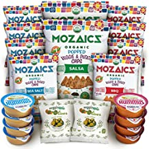 Allergy-Friendly Snacks Premium Care Package - Great College Gift or Sampler, Healthy Natural Variety Pack Single Servings - Mozaics Chips, Veggicopia Dips & Olives (20 Count)