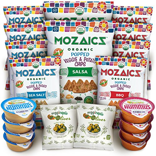 - Allergy-Friendly Snacks Premium Care Package - Great College Gift or Sampler, Healthy Natural Variety Pack Single Servings - Mozaics Chips, Veggicopia Dips & Olives (20 Count)