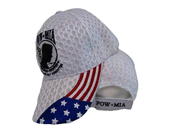 177da5d5487 Pow MIA USA American Flag POWMIA Textured Mesh White Embroidered Cap ...