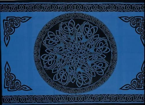 SS07406 – India Arts Celtic Tapestry Double Full Sizes Available 100 Cotton Circle Blue, 68 X 102 Double