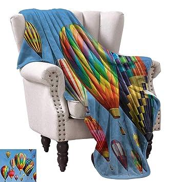 Amazon.com: Luckyee Throw Blanket,Nostalgic Hot Air Balloons ...