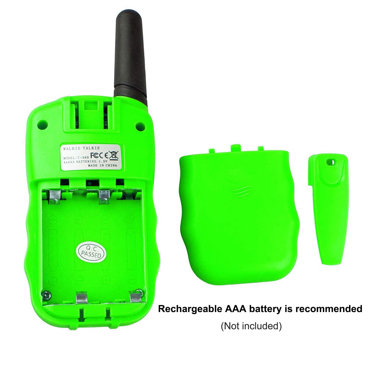 Qianghong T3 Kids Walkie Talkies 3-12 Year Old Children's Outdoor Toys Mini Two Way Radios UHF 462-467 MHz Frequency 22 Channels - 1 Pair Green by Qianghong (Image #5)