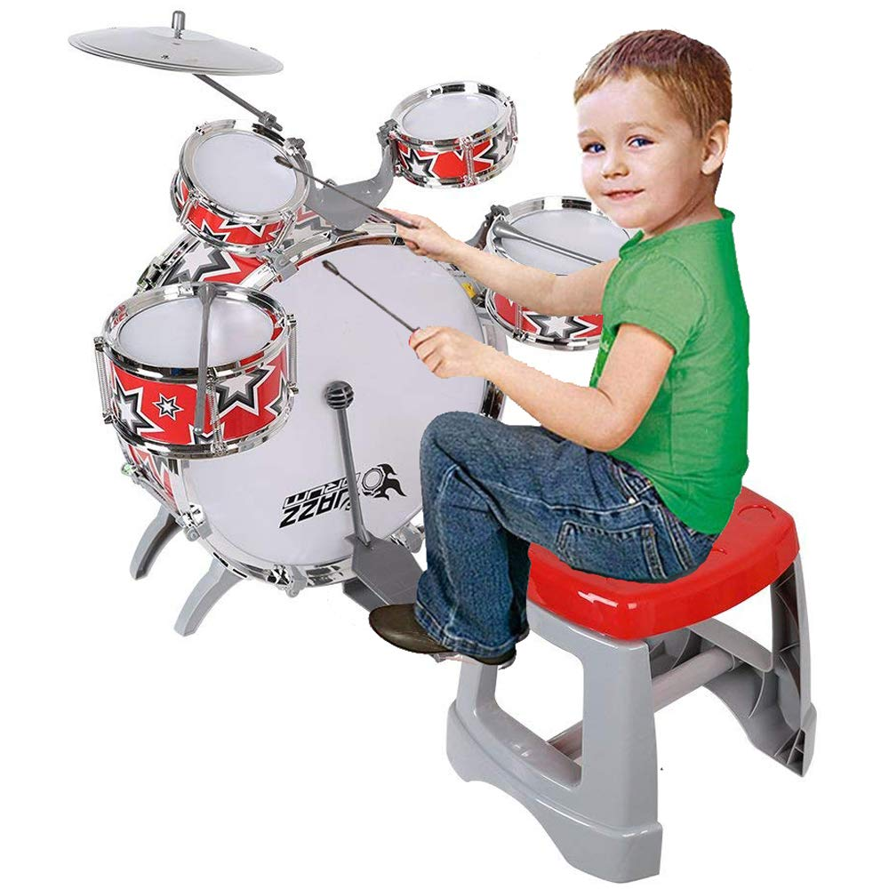 COLOR TREE Kid's Jazz Drum Musical Instrument Pop Drum Playset with 5 Drums,Chair,Kick pedal