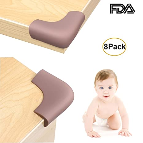 Light Brown AKORD Baby Safety Corner Protectors for Desk Table