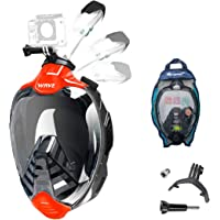 Full Face Snorkel Mask, Diving Mask with 180° Panoramic View Dual Airflow Breathing Technology with Detachable Camera…