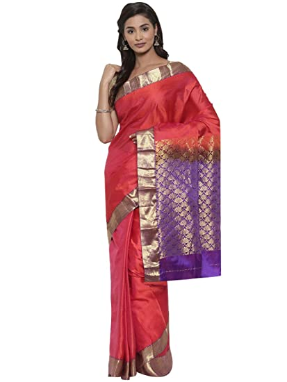 c72ac196eb CLASSICATE From the house of The Chennai Silks Pure Kanjivaram Silk Saree  (CCMYSS7823_Tomato Red_Free Size): Amazon.in: Clothing & Accessories