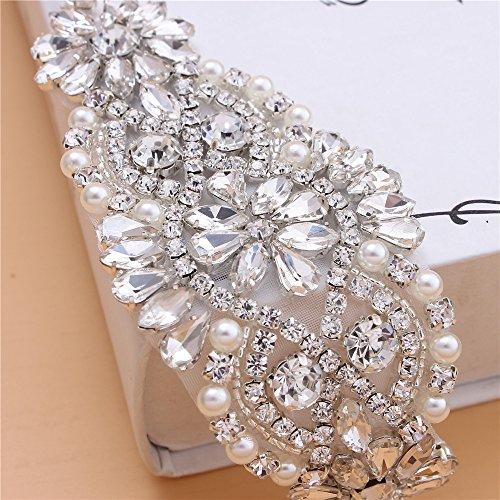 001ffca95c Crystal Rhinestone Applique with Pearls for Bridal Belt Wedding Dress  Garters Headpieces