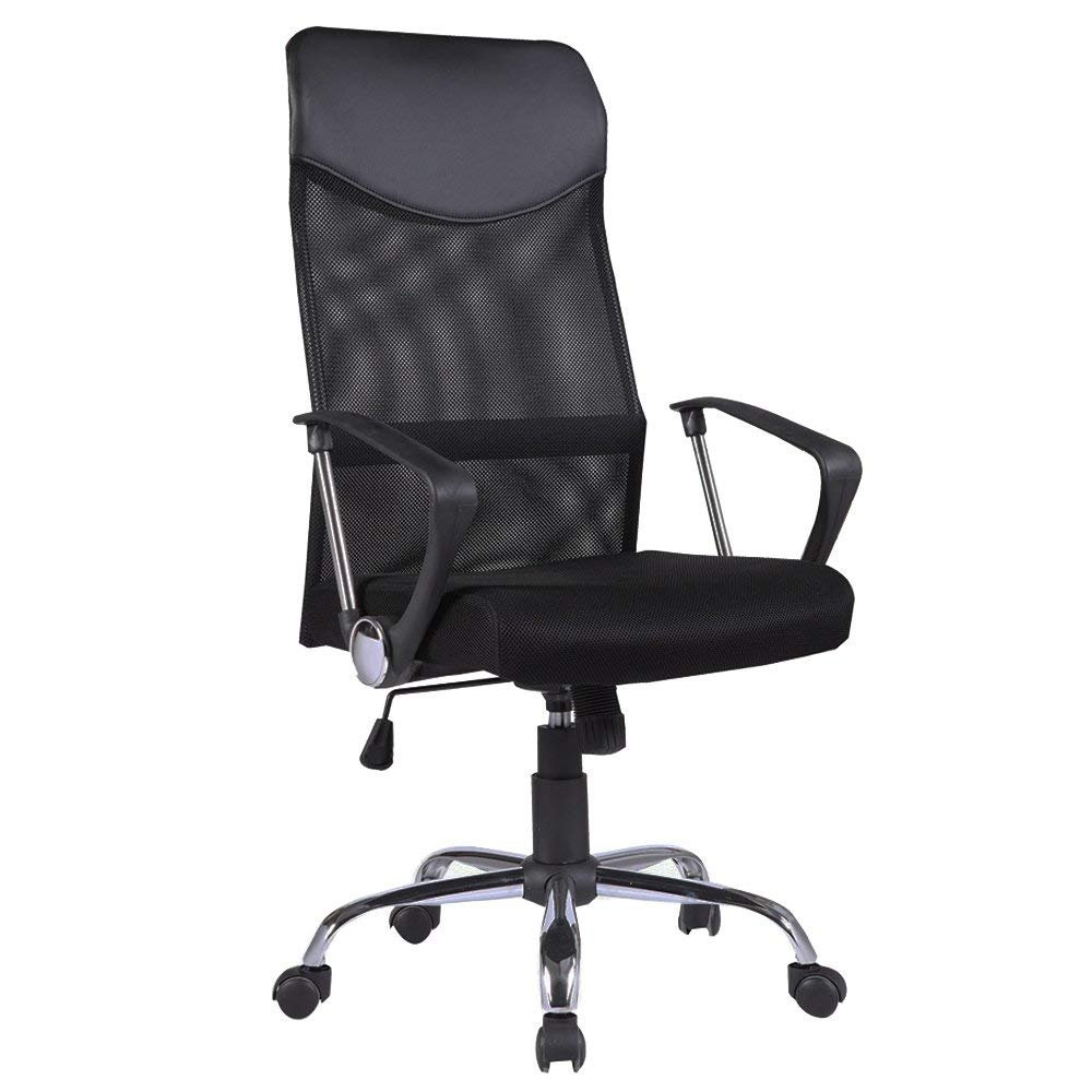 Mecor High Back Office Chair with Ergonomic PU Headrest and Armrests, Breathable Mesh Desk Chair Height Adjustable, 360 Degree Executive Swivel Chairs with Wheel Casters, Black