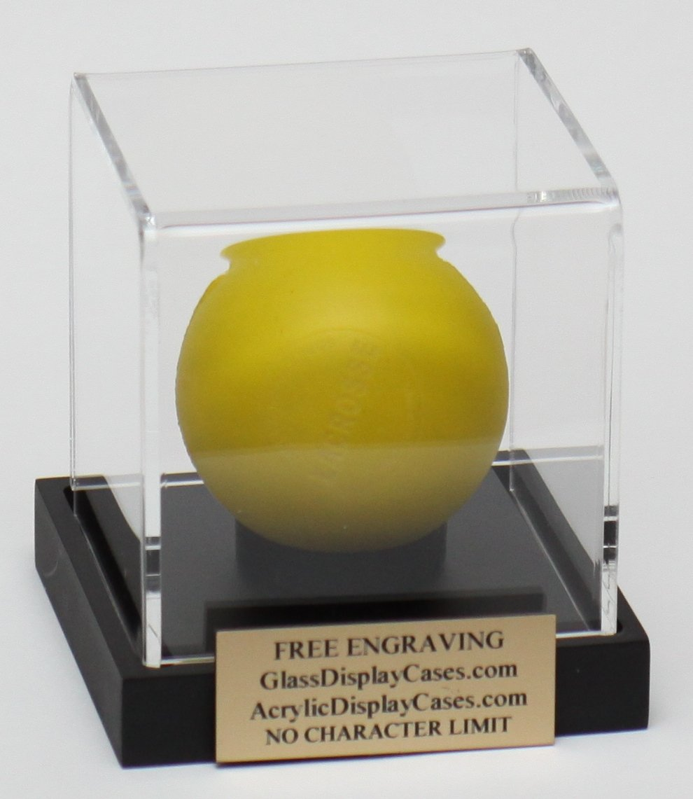 Lacrosse Ball Personalized Acrylic Display Case - Holder with Custom Black Base - Free Laser Engraved Name Plate