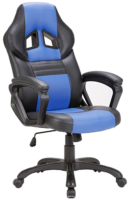 SEATZONE Swivel Office Chair, Racing Car Style Bucket Seat Gaming Chair,  Curved High